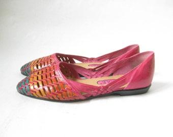 Vintage 80's Tri Color Huarache Flats. Size 7 1/2