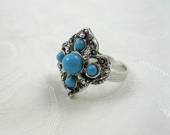 Vintage Sarah Coventry Ring Faux Turquoise Adjustable Silvertone