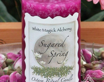 Sugared Spring Ostara Pink Sugar Candle 2x3 Pillar . New Beginnings and the Coming of Spring