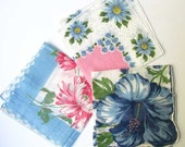Lot 3 Vintage 1950's Cotton Floral Design Hankies, Women's Hankies, Handkerchief, Flower Hankies, Blue, Pink and White Handkies