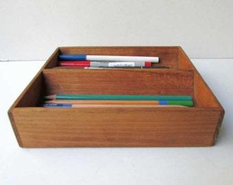 Antique 1920 Vintage Oak Office Desk Top Pen, Pencils, Supplies Divided Box  For Your