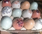 Fizzing Bath Bombs Fizzies - Naturally Colored Eggs, Botanical Ingredients, Luxury Additions - Compostable Packaging