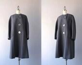 1960s Coat / Vintage 60s Asymmetrical Minimalist Coat / 60s Gray Wool Coat