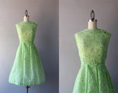 Vintage 60s Dress / Early 1960s Sheer Pleated Dress / Sleeveless Green 60s Day Dress