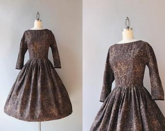 Vintage 50s Dress / 1950s Jeanne d'arc Chocolate Cotton Day Dress / Dark Floral Fifties Dress