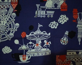 One Yard Cotton Fabric Merry Round Castle