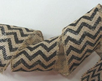 "Burlap Wired Ribbon Black Chevron 2 1/2"" Bows Wreaths Wedding Country"