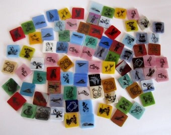 Destash Lot - over 85 pcs. glass cabochon squares printed w fired on mid century style images