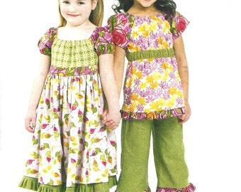 Child's Dress Pattern Top Capri Length Pants Kerchief McCall's 2010 Children's Sewing Uncut Girl's Size 6 - 8