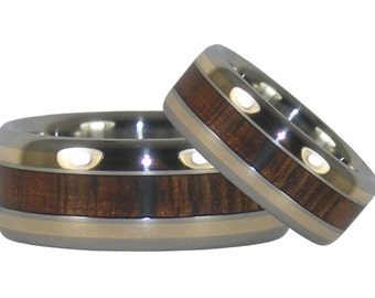 Dark Koa Wood and 14kt Gold Inlay Titanium Ring Set Cut from the Same Piece of the Tree