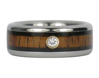 Koa Diamond Titanium Ring with Black Wood Bands