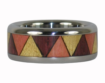 Triple Wood Ring with Tribal inlay