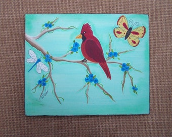 """Cardinal Red Bird Folk Art Painting Butterfly and Dragonfly by the artist 10"""" x 8 1/4"""""""