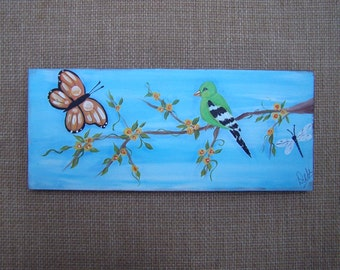 """Folk Art Painting Bird on a Branch w Butterfly Yellow flowers and Dragonfly By the Artist. 14"""" x 6"""""""
