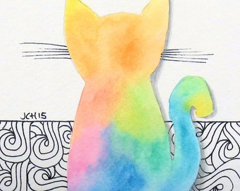 """Tie Dye Cat with Zentangle Swirls Watercolor and Ink Painting Drawing  5"""" x 7""""  Wall Art"""