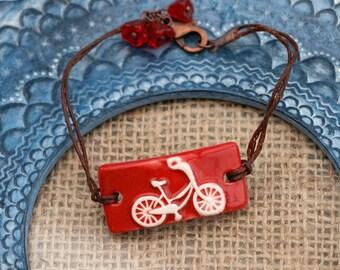 Red Bicycle Bracelet, Flower Bracelet, Bicycle Bar Bracelet