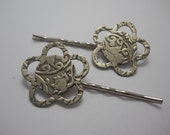 Embossed Silver Metal Flowers on Silver Bobby Pins Large Hair Pins Hair Clips