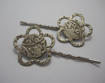Embossed Silver Metal Flowers on Silver Bobby Pins Large Hair Pins Hair Clips Silver Flower Stamped Handmade