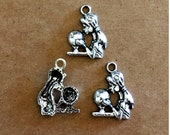 5 Fortune Teller charms - Antique Silver - SC238 #MM