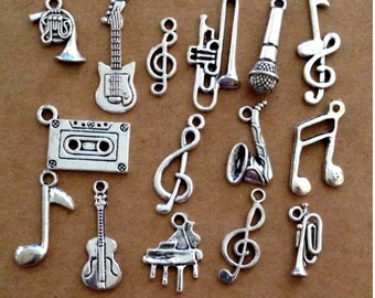 15 Music Musical Instrument charms - Antique Silver - SC168 #GW