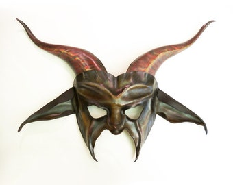 Baphomet Goat Leather Mask in grey with brown black and red Pan Krampus Baphomet Devil