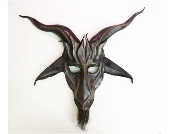 Baphomet Goat Leather Mask with Horsehair Beard in grey with brown and black