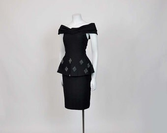 80s dress / Haute Couture Vintage 1980's does 40's Peplum Sira Dress