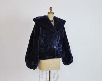 1970s jacket / Vintage 70's Blue Vegan Faux Fur Hooded Jacket