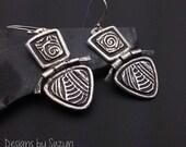 Earrings, silver, tribal, artisan, handmade, Smaller Hinged Silver Earrings