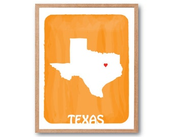 TEXAS State Map -  Light Orange - Personalized Custom Color Watercolor Style Love Wedding Birthday Anniversary GIft Children Kids poster