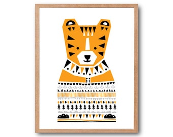 Boy Room Decorations, Tiger Sweater Art Print, Safari Animal, Safari Nursery, Tiger illustration, animal Illustration, Children Room decor