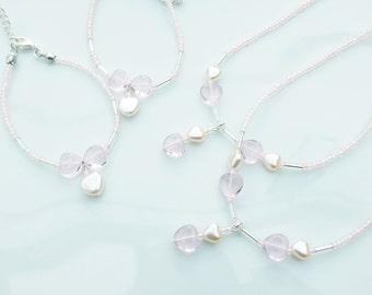 BRIDESMAID Wedding Jewellery - 2 x Girls/Childs Pastel Pink Hearts Necklace & Bracelet SETS
