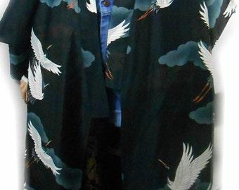 Rare Vtg 70s 80s Crane Birds Asian Dragon Geisha Japan Japanese Hippie Boho Bohemian Gypsy Gothic Goth Haori Dress Top Kimono Duster Jacket