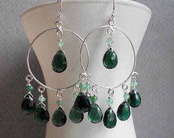 Tourmaline Color Green Quartz Earrings, Sterling Silver, Meadow Hoop Earrings, Limited edition