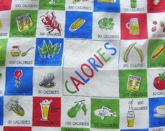 Calorie Counting HANKIE Colorful Silk Novelty Handkerchief Glentex Hand Rolled Hem