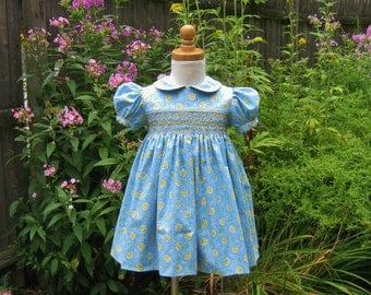 Girl smocked dress, size 24 Mo, toddler dress, yellow flowers, ready to ship, special occasion, birthday gift, vintage look, OOAK, baby girl