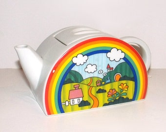 1960s teapot / vintage 60 kitchen / ceramic / Beautiful Day Rainbow Teapot