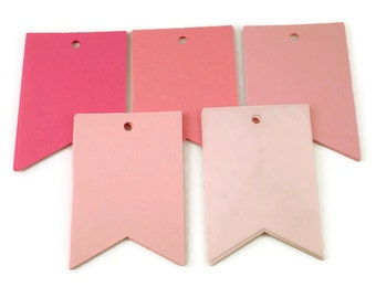 Large Paper Gift Tags Pennant Flag in Pink Pop Set of 30