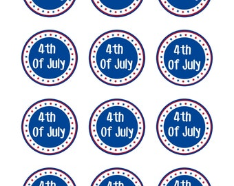 Fourth of July Labels, 4th of July Circle Labels, July 4th Labels, DIY Printable File, INSTANT DOWNLOAD