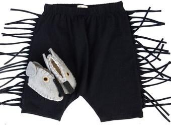 Black Fringe Shorts