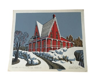1960s Woodblock Print by Beverly Hackett (1917-2010), Red Farmhouse Country Scene