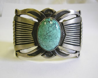 Turquoise 925 Silver Cuff Bracelet, Navajo Feather Mark, Handwrought, great condition, BIG, Item C7