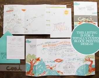 Block Printed Wedding Invitation Custom Made