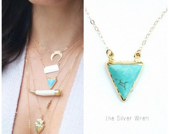 Turquoise Necklace, Layering Necklace, Gemstone Necklace, Boho Necklace, Gold Edge Turquoise Necklace