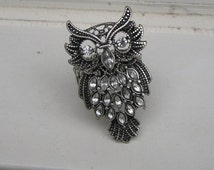 SALE Adorable Cocktail Owl Figural Ring with Rhinestones