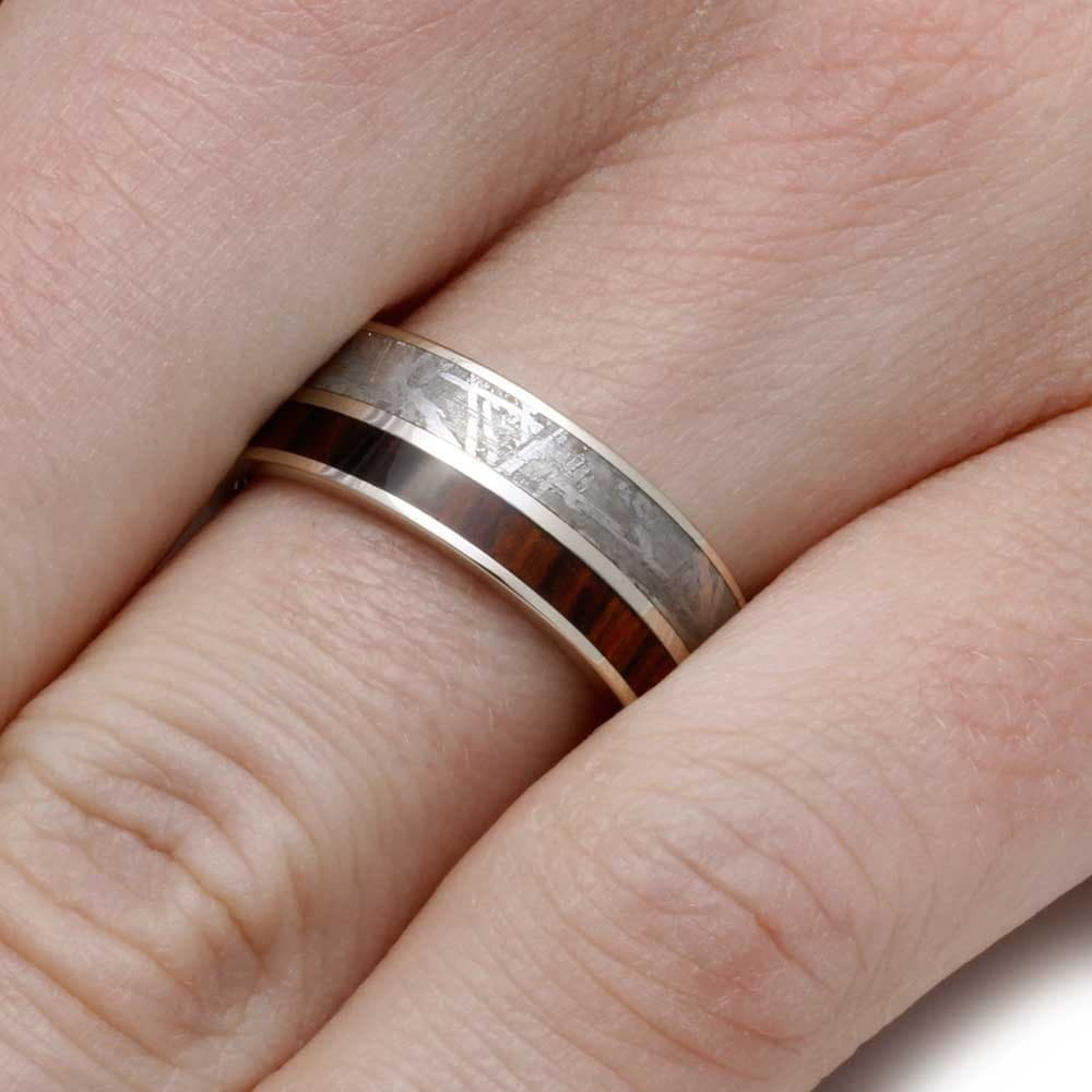 10k White Gold Wedding Band With King Wood, Men\'s Meteorite Ring ...