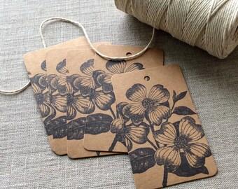 20 Dogwood Flower Gift Tags, dogwood favors, dogwood gift tags, floral gift tags, kraft flower gift tags