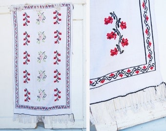 Russian Embroidered Textile // Small White Vintage Throw Blanket // Vintage Home Decor