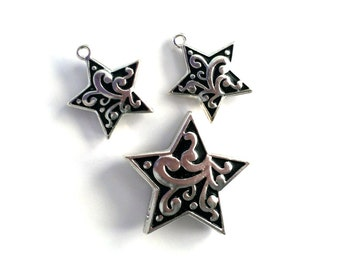 Set of Detailed Celestial Star Charms and Pendant Decorative