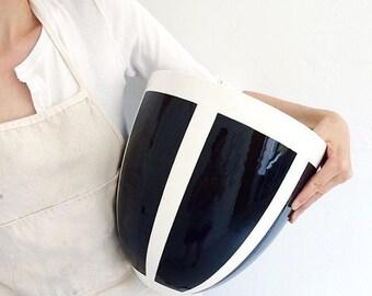 Handmade, Pottery, Large, Bowl, Graphic Pattern, Black, White
